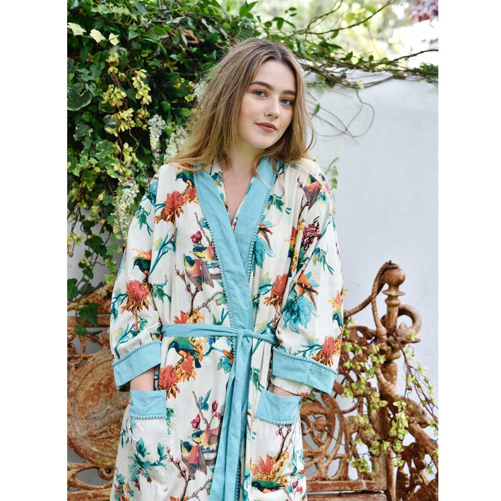Turquoise Hummingbird Print Ladies Dressing Gown With Blue Trims