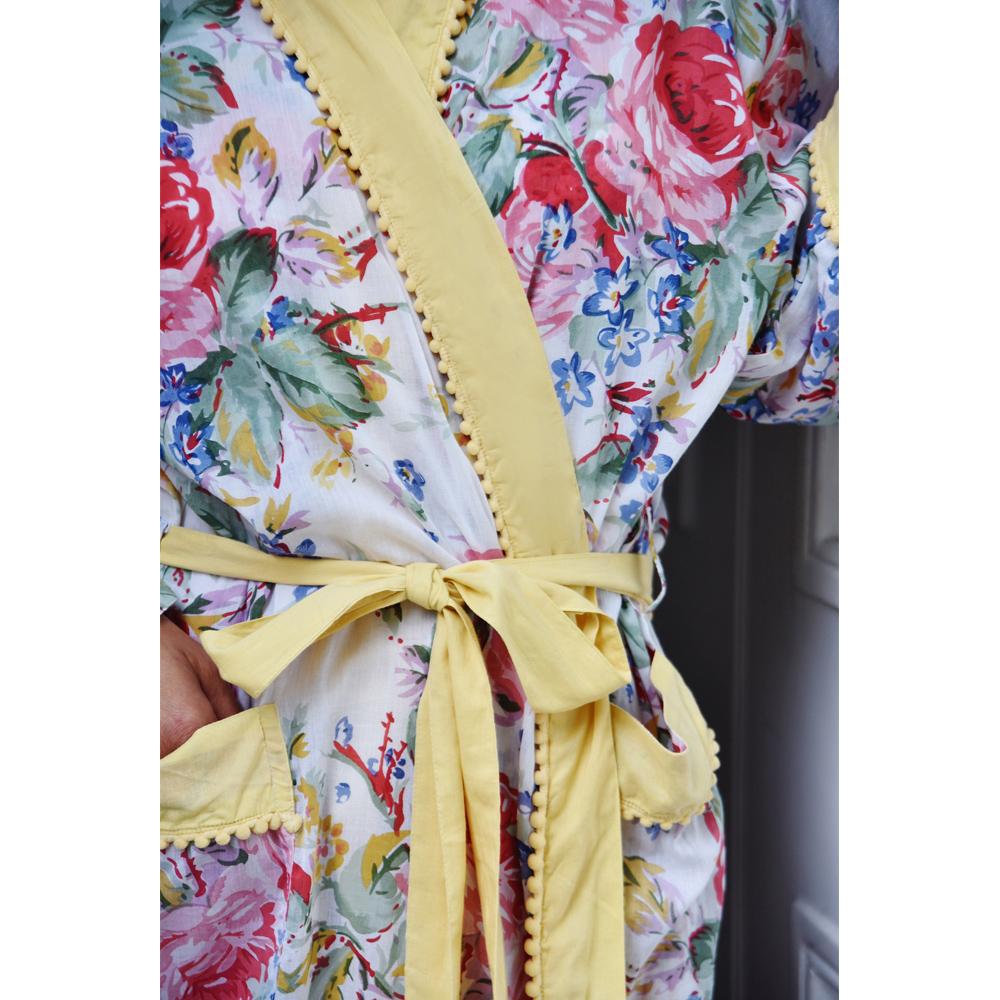 Floral Dressing Gown With Lemon Pom Pom Trims