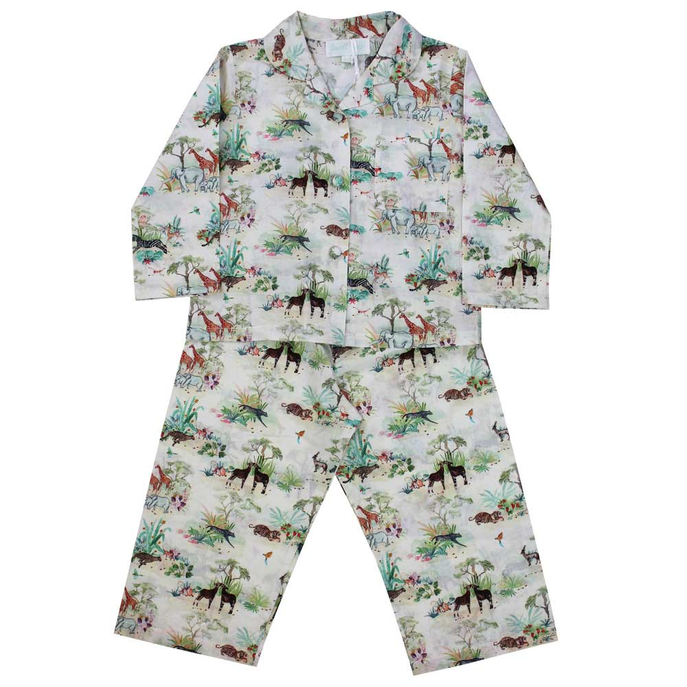 Vintage Jungle Print Long Sleeve Girls Pyjamas