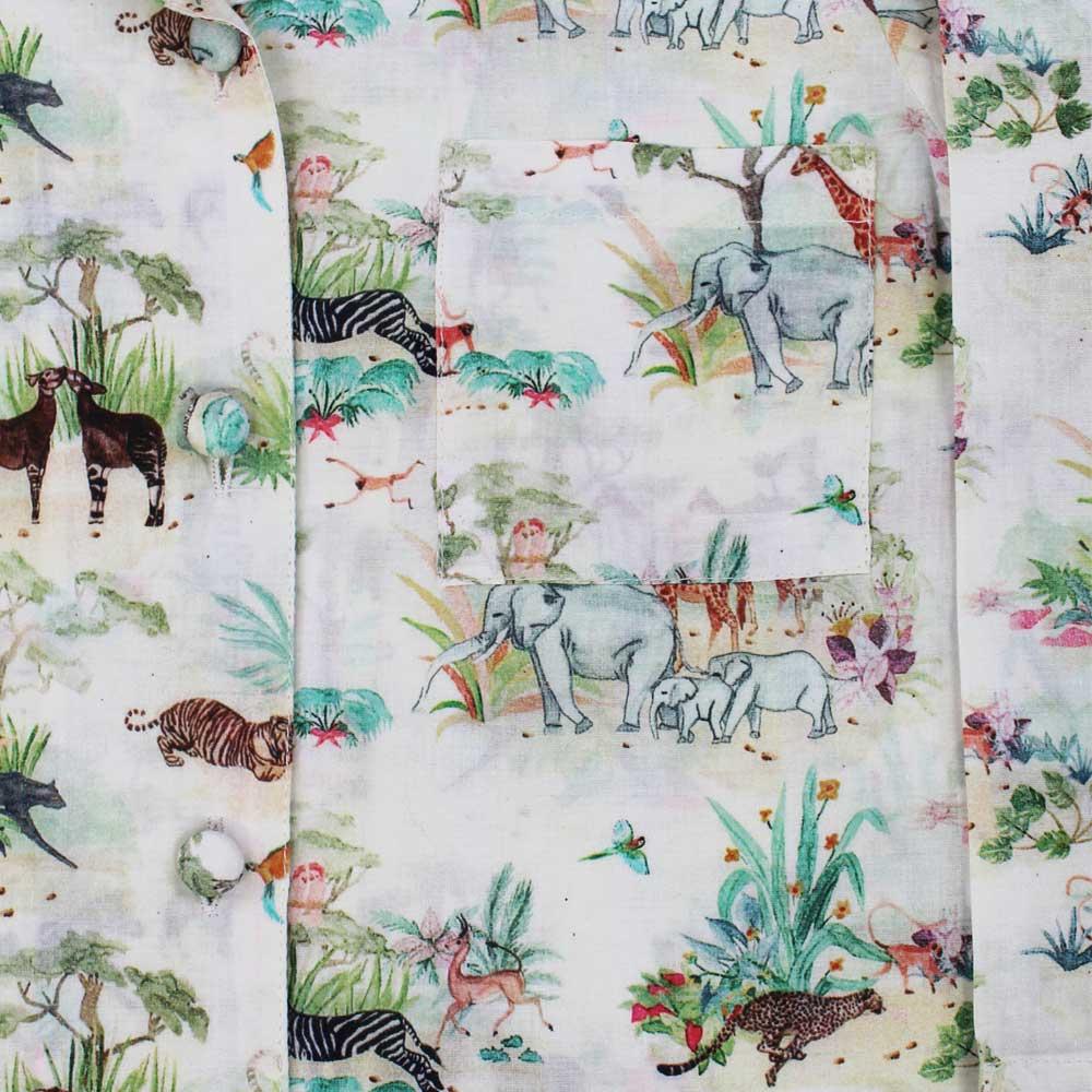 Vintage Jungle Print Long Sleeve Girls Pyjamas