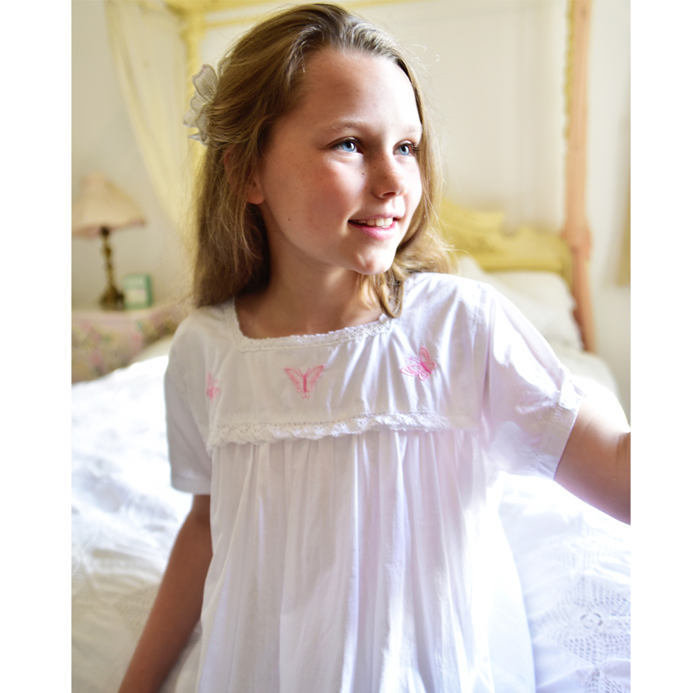 Flora Girls White Nightdress With Pink Butterfly Embroidery